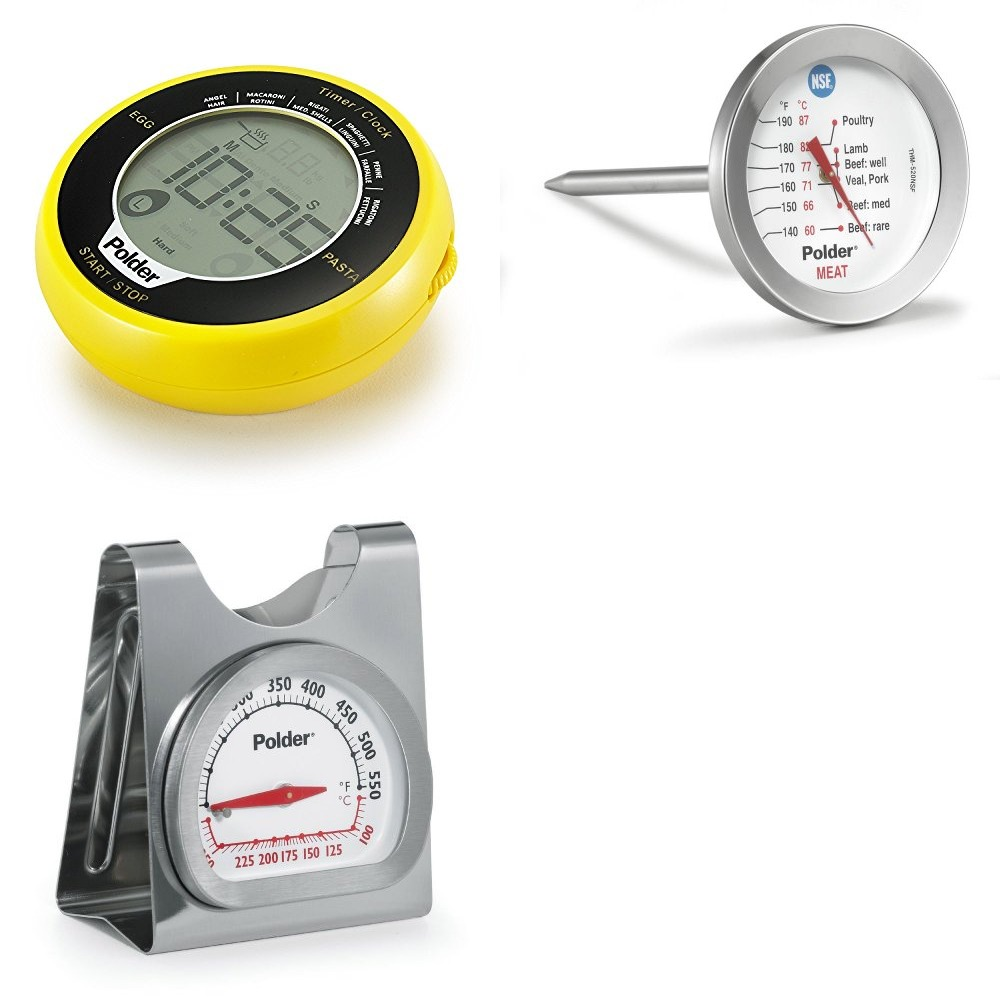 Polder Egg Pasta Timer, Dial Meat Thermometer, and Oven Thermometer Set by Polder