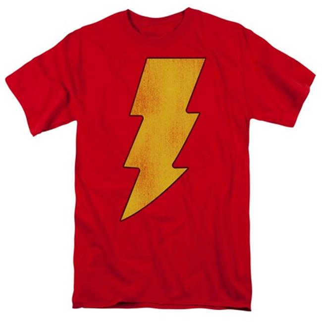 Dc-Shazam Logo Distressed - Short Sleeve Adult 18-1 Tee - Red, Small