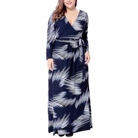 Voomwa - Women\'s Plus Size Print Long Sleeve Wrap Maxi Dress ...