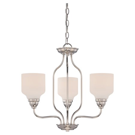 3-Light Transitional Chandelier in Polished Nickel Finish
