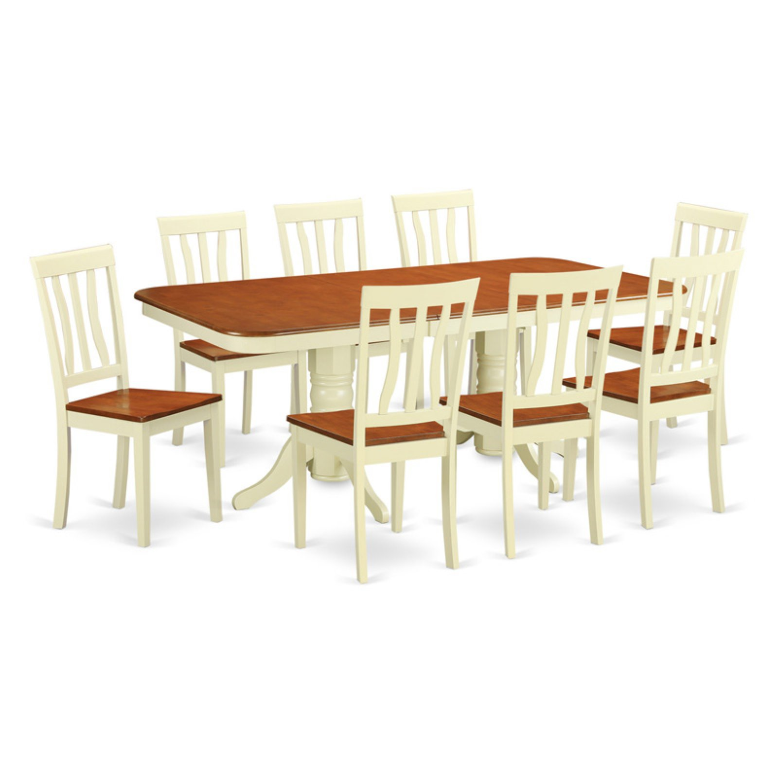 East West Furniture Napoleon 9 Piece Trestle Dining Table Set with Antique Wooden Chairs