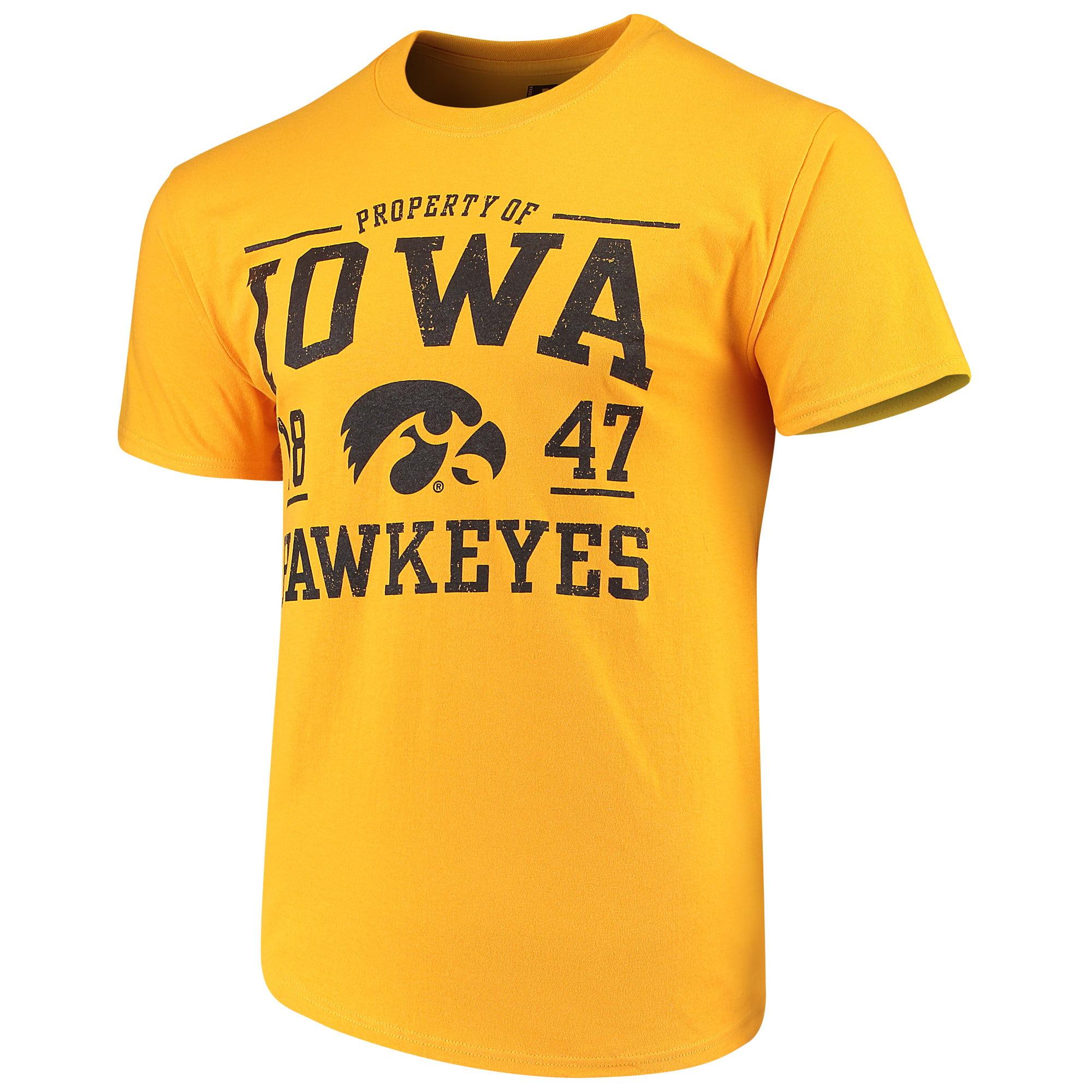 Men's Russell Gold Iowa Hawkeyes Crew Distressed Print T-Shirt