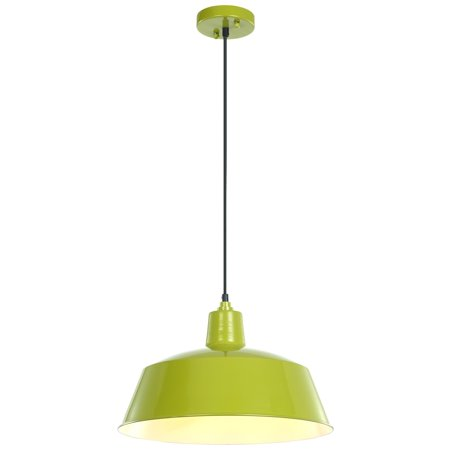"Green Pendant Light - LEDPAX Kenai Pendant Fixture, Steel Shade with Textile Cable – Lime Green, 16.5"" X 9"""