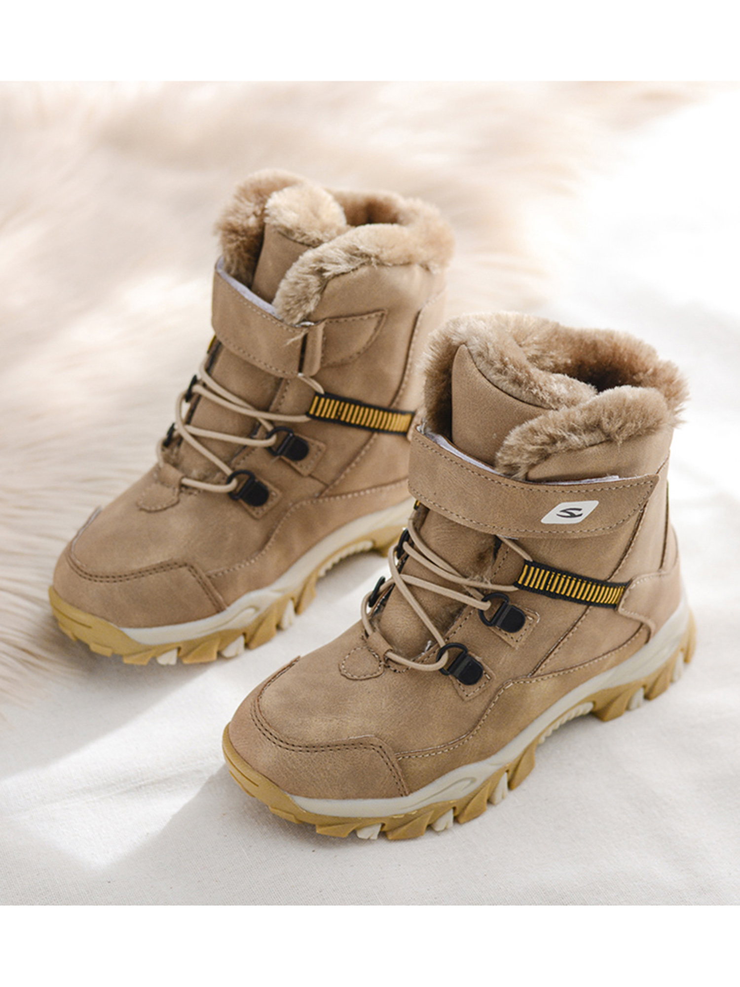 Boys Ankle Hiking Boots Girls Winter Snow Boot Waterproof Fur Lined Shoes Size