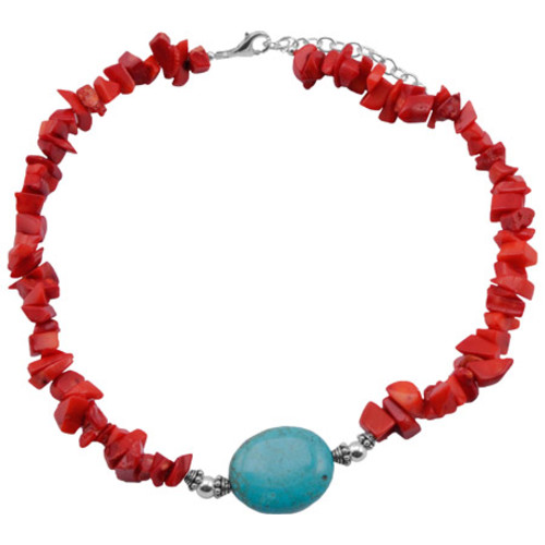 Women's Barse Turquoise/Sea Bamboo Necklace TESSN24TCRL