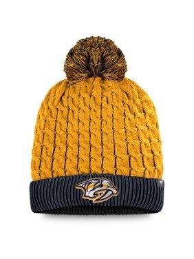 Nashville Predators Fanatics Branded Women's Iconic Cuffed Knit Hat with Pom - Gold/Navy - OSFA