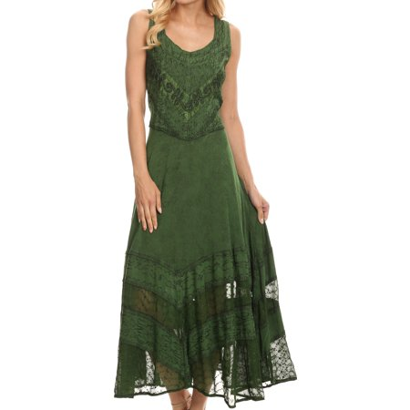 Green Floral Vine - Sakkas Zendaya Stonewashed Rayon Embroidered Floral Vine Sleeveless V-neck Dress - Dark Green - S/M