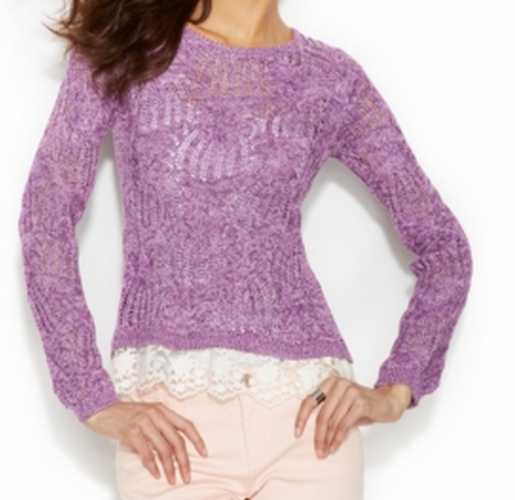 INC NEW Purple Women's Size Large L Lace Hem Crochet Knit Scoop Neck Sweater