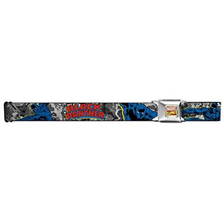 Action Belt (Marvel Comics Seatbelt Belt - BLACK PANTHER Action Poses Retro)