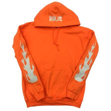 Kylie Jenner Safety Orange Hoodie with Bright White Flames on Sleeves and Kylie on Hood (Orange Reebok Hoodie)