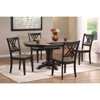 Iconic Furniture 5 Piece Oval Dining Table Set - Gray Stone / Black Stone