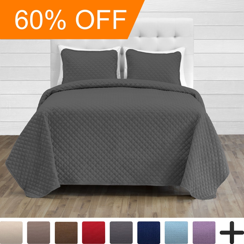 Premium Diamond Stitched 2 Piece Coverlet Set - Ultra-Soft Luxurious Lightweight All Season Bedspread (Twin/Twin XL, Grey)