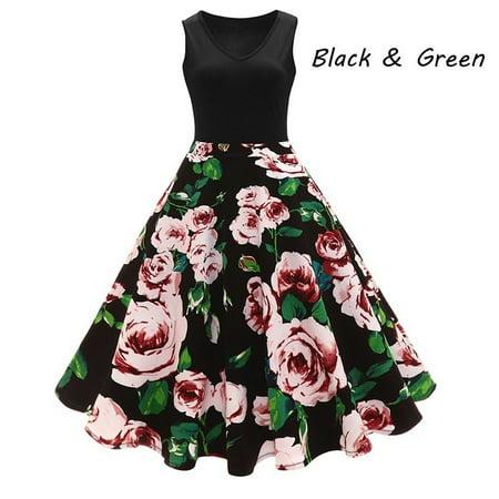 ff4509567ec20 VISTA - New Arrival Women Fashion Cocktail Party Prom Dress Sleeveless  Floral Print Dress - Walmart.com