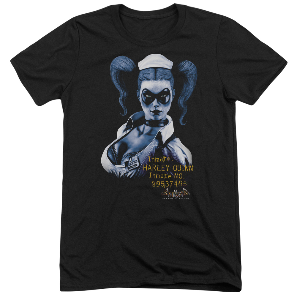 Batman Arkham Asylum Arkham Harley Quinn Mens Tri-Blend Short Sleeve Shirt