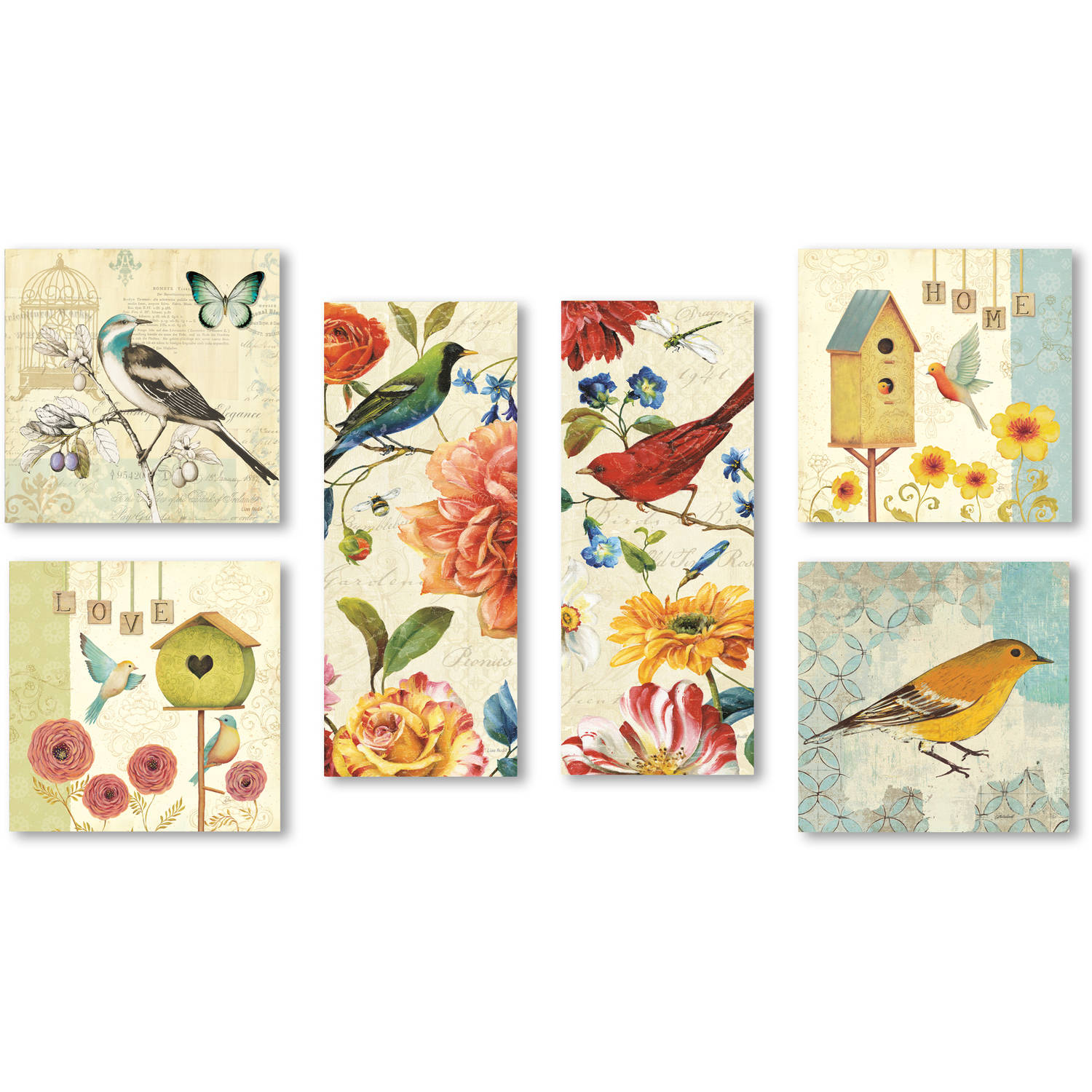 "Trademark Fine Art ""Wild Birds Wall Collection 6 Panel Set"" Canvas Art"