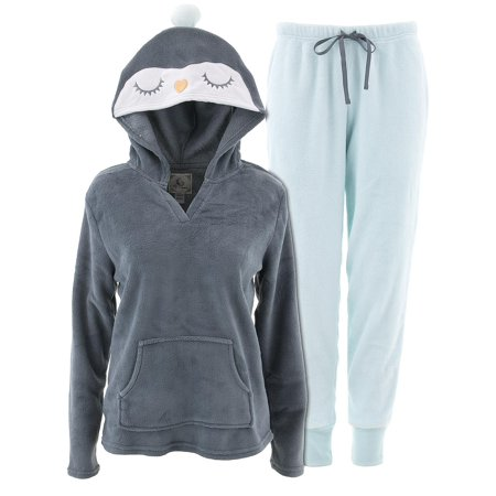 PJ Couture Women's Penguin Hooded Charcoal Pajamas