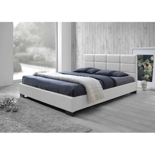 modern leather bed baxton studio vivaldi modern and contemporary white faux 12597