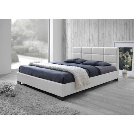 Baxton Studio Vivaldi Modern and Contemporary White Faux Leather Padded Platform Base Queen Size Bed - Modern Queen Leather Bed