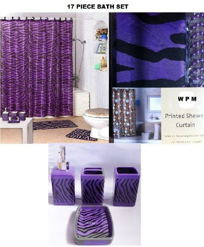 17 Piece Bath Accessory Set- Purple Zebra Shower Curtain with Decorative Rings + Bathroom... by