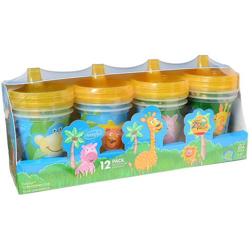 Evenflo Zoo Friends 6-oz Sippy Cup, Set of 12, BPA-Free