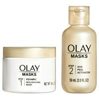 Olay 2-Step Kit, Vitamin C Mask 2.2 oz, AHA Resurfacing Peel 2 fl oz