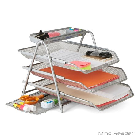 Mind Reader 3 Trays Desktop Document Letter Tray Organizer with Pull Out Drawer Organizer, Folders, Files, Documents, Mail, Silver