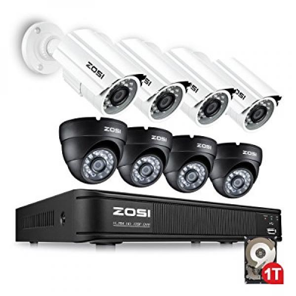 ZOSI 8-Channel 720P Security System 1080N Video DVR with ...
