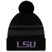 LSU Tigers New Era Static Cuffed Knit Hat with Pom - Black/Heathered Gray - OSFA