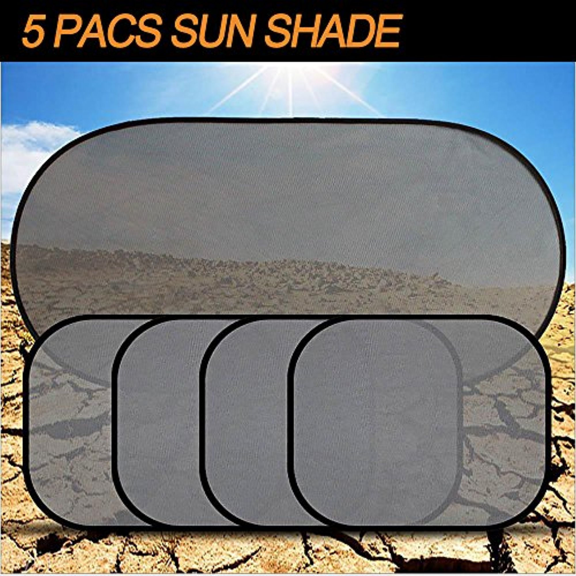 Car Sun Shade [SET of 5] for Windows Car Visor Protect Your Kids and Pets from Sun Glare and Heat Fit Most of Vehicle IClover