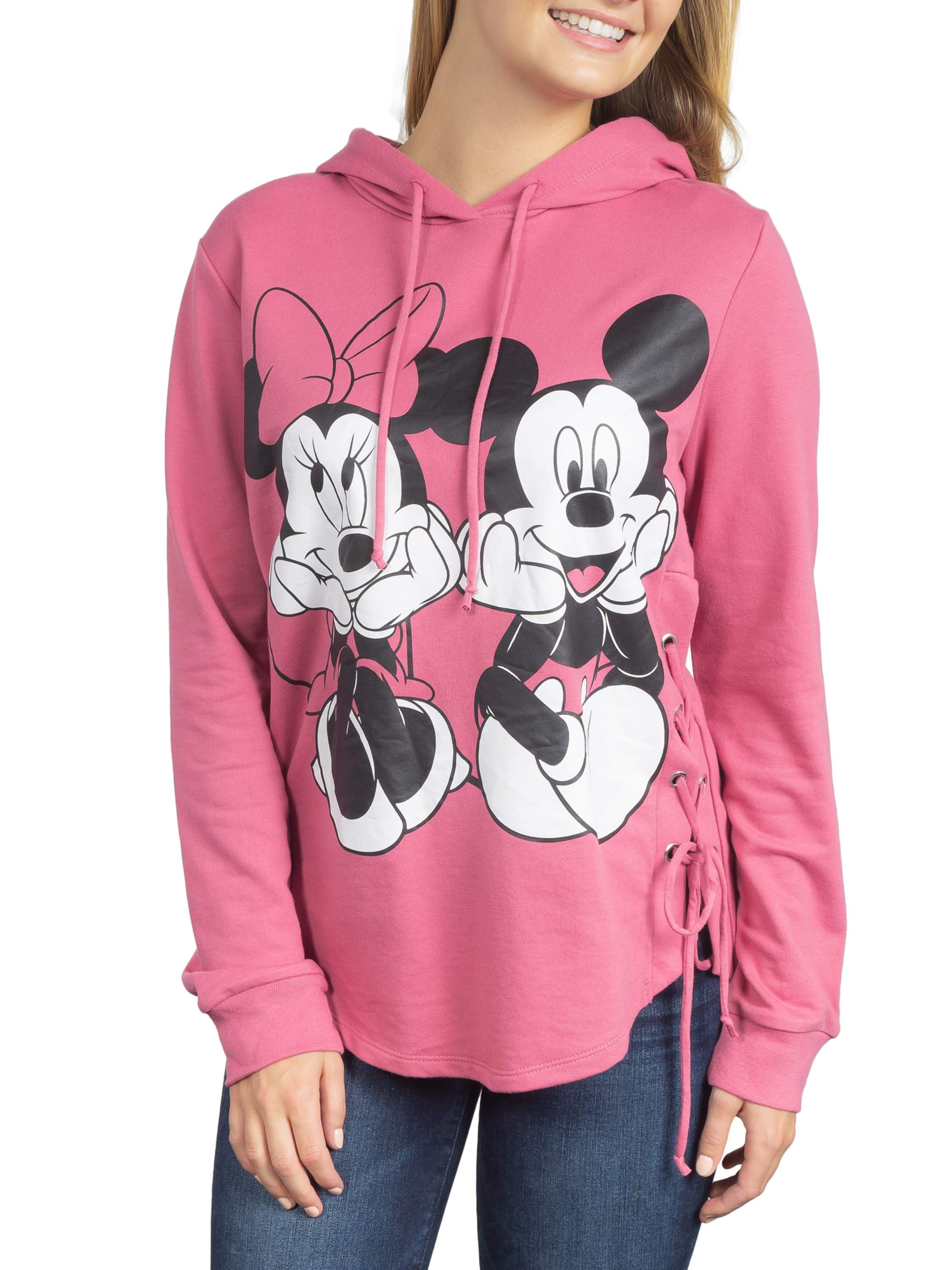 Juniors' Mickey & Minnie Graphic Side Lace-Up Hoodie