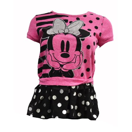 Minnie Mouse Polka Dot Girls Tulle Top Blouse Pink/Black (Large 10/12) - Pink And Black Minnie Mouse Tutu