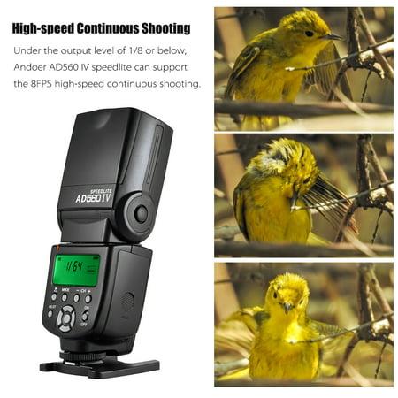 Andoer AD560 IV 2.4G Flash sans fil universel pour caméra Speedlite flash GN50 Ecran LCD pour Canon Nikon Olympus Pentax pour caméras DSLR Sony A7 / A7 II / A7S / A7R / A7S II - image 3 of 7