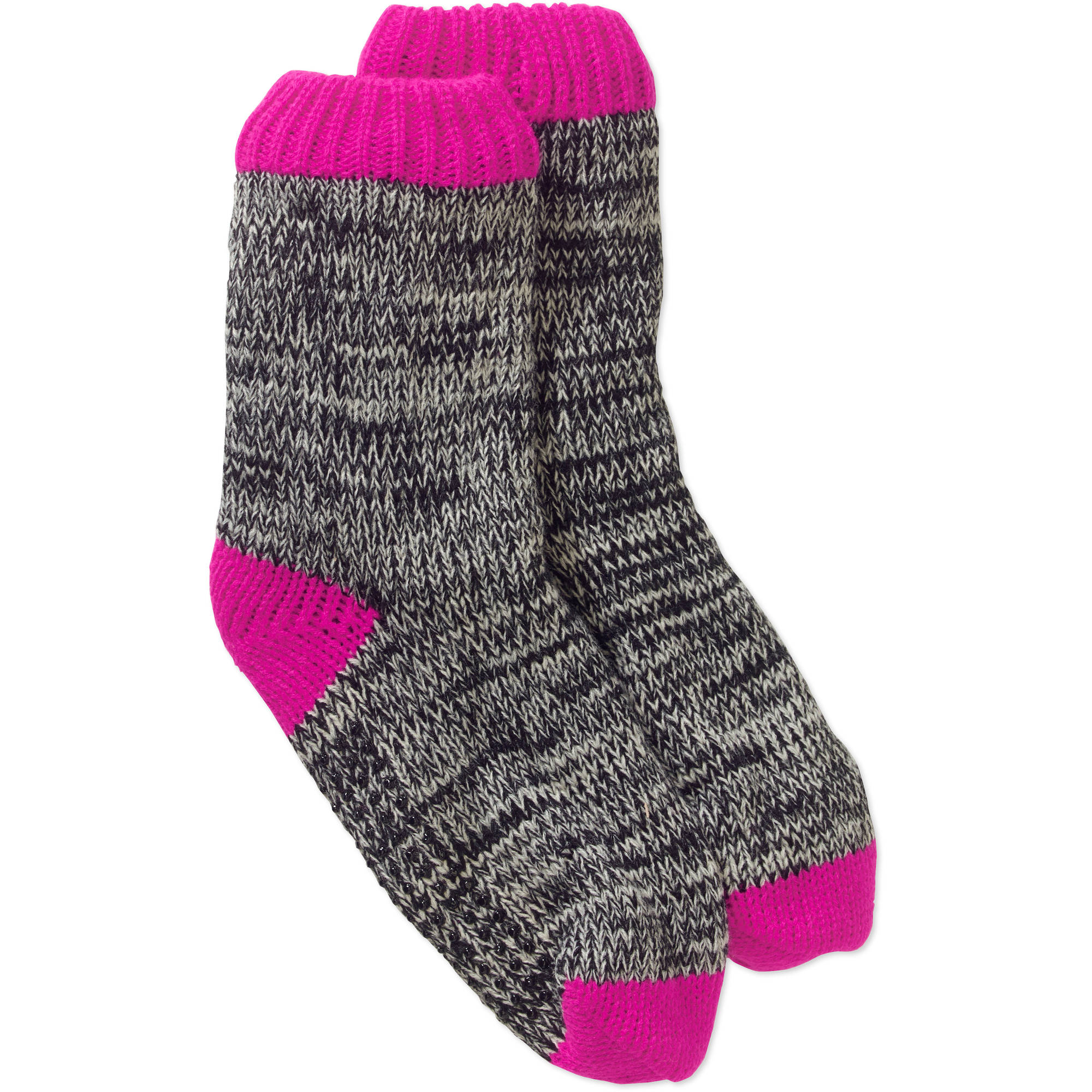 Ladies Marled Knit Chunky Slipper Sock with Faux Fur Lining