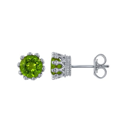 Simulated Peridot Stud Earrings in Sterling Silver ()