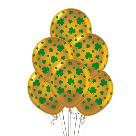 St. Patrick's Day Balloons with Green Shamrocks, Premium Gold, 11in, 25ct - Patrick Balloon