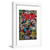 Marvel Comics Retro Style Guide: Thor, Absorbing Man, Odin, Loki Framed Print Wall Art