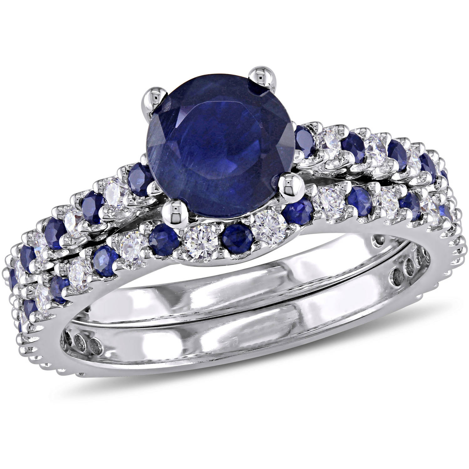Tangelo 1-4 5 Carat T.G.W. Sapphire and 3 8 Carat T.W. Diamond 14kt White Gold Bridal Set by Tangelo