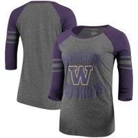 Washington Huskies Women's Raglan Sleeve Stripe 3/4 Length Sleeve T-Shirt - Heathered Gray