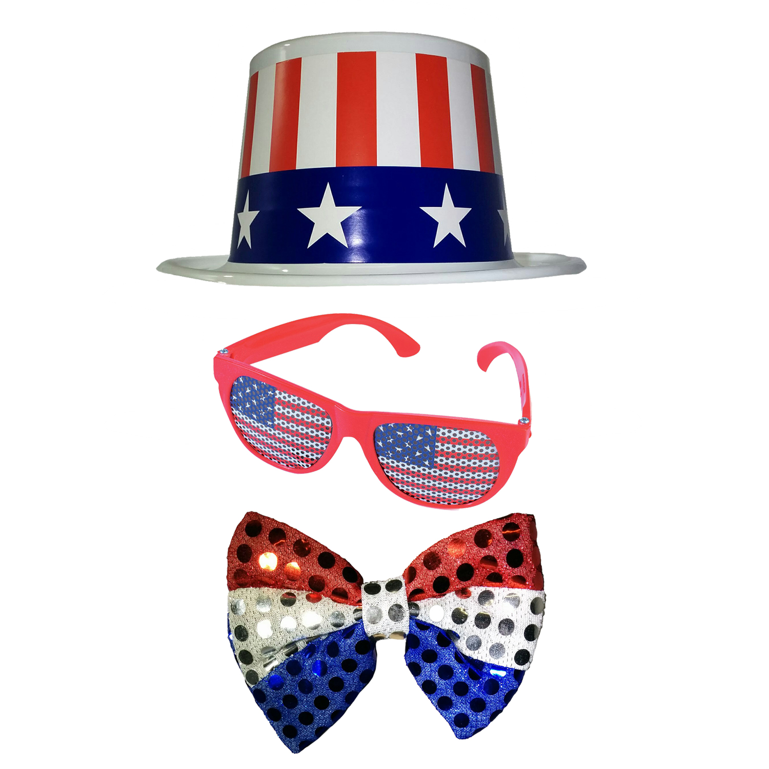 H23 081 Fancy Dress USA Flag Plastic Top Hat American Independence Day