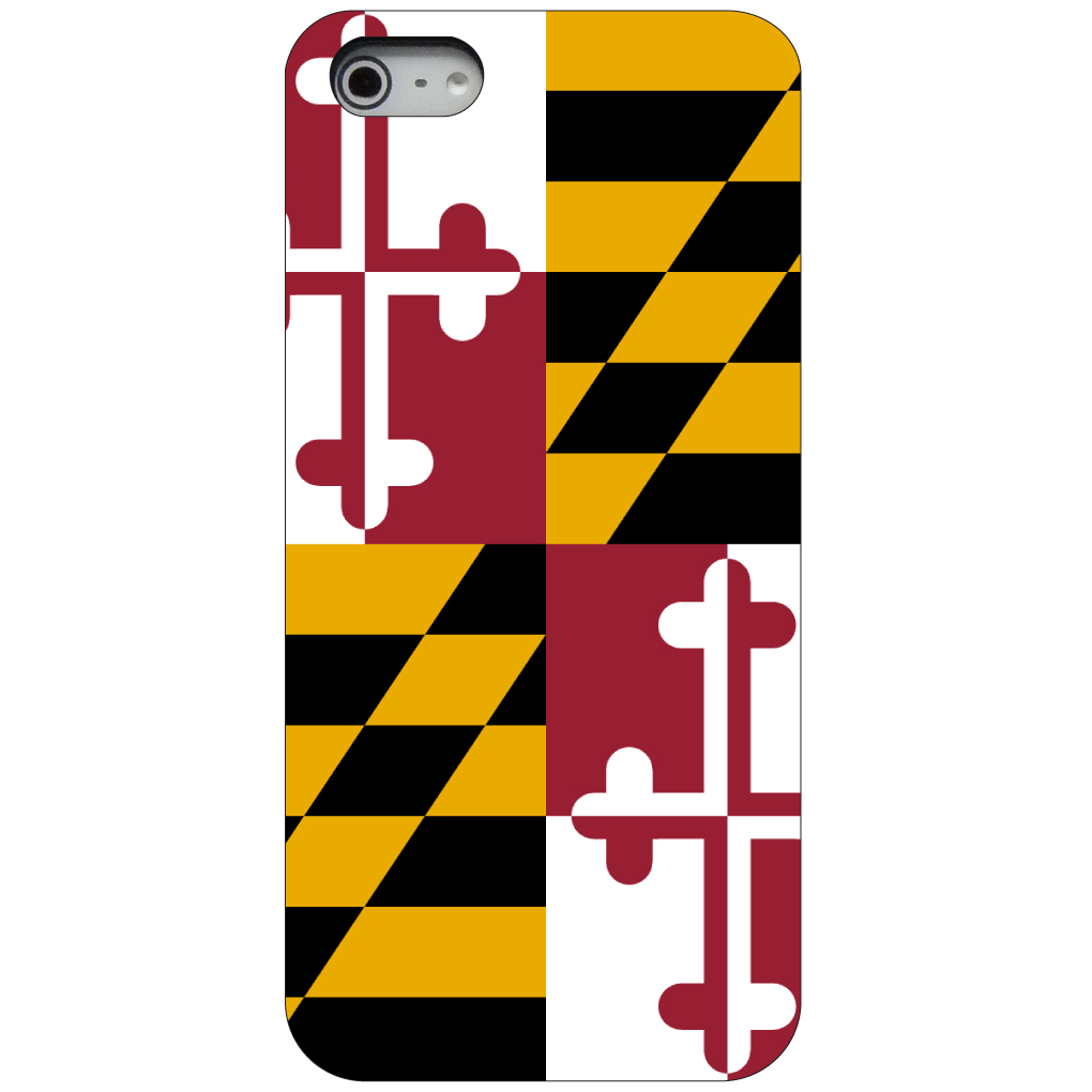 CUSTOM Black Hard Plastic Snap-On Case for Apple iPhone 5 / 5S / SE - Maryland State Flag
