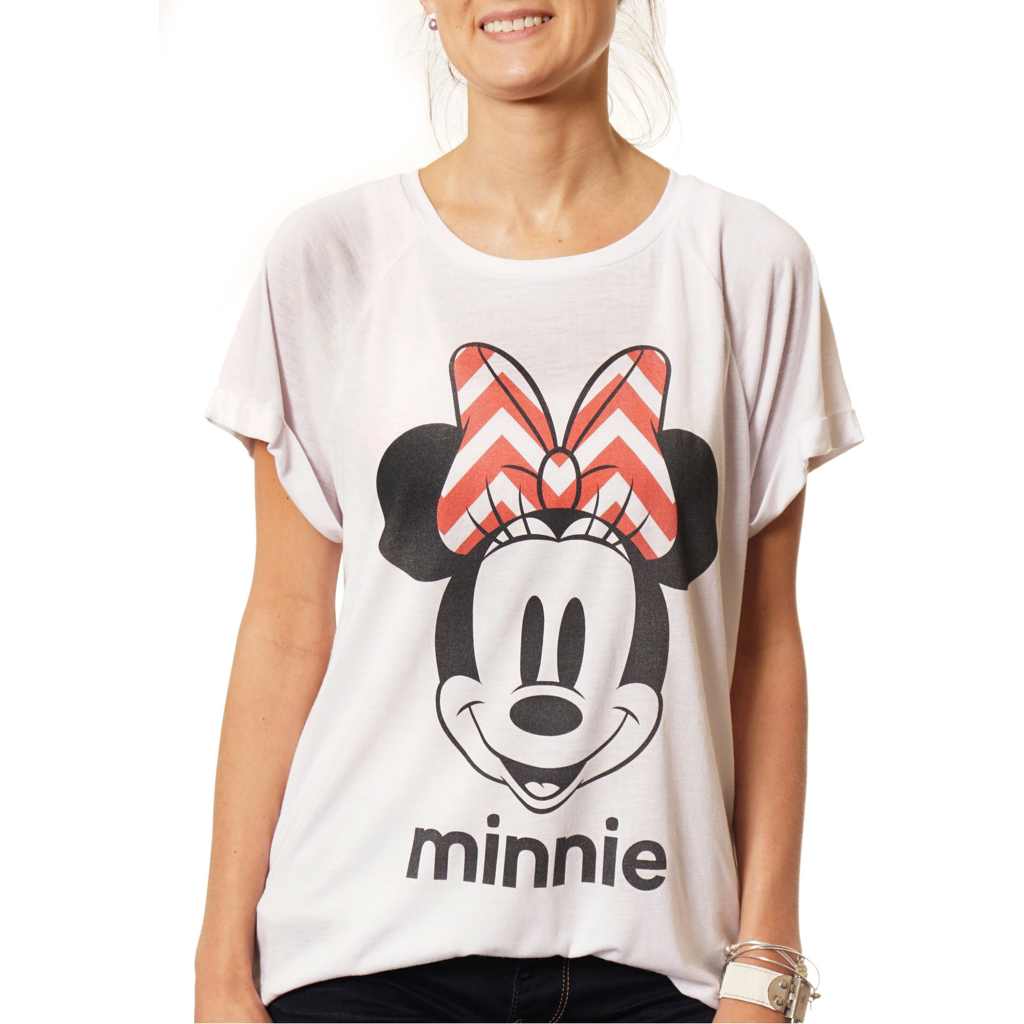 Disney Women's Minnie Mouse Bow Hi-Lo Graphic T-Shirt