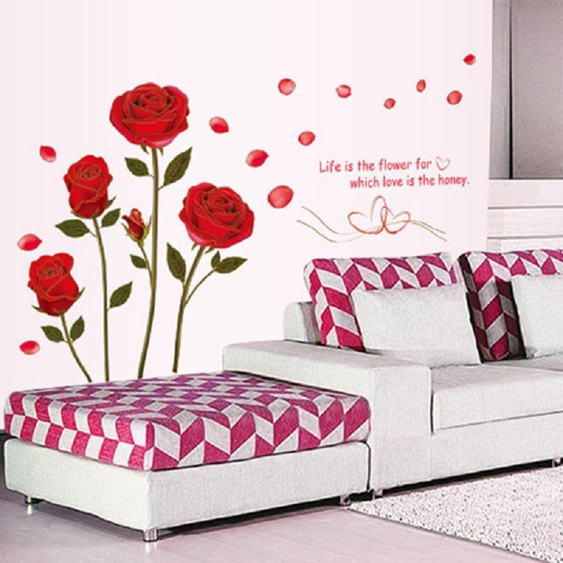 DIY Flower Red Rose Art Vinyl Wall Sticker Decal Mural Home Room Decor Removable