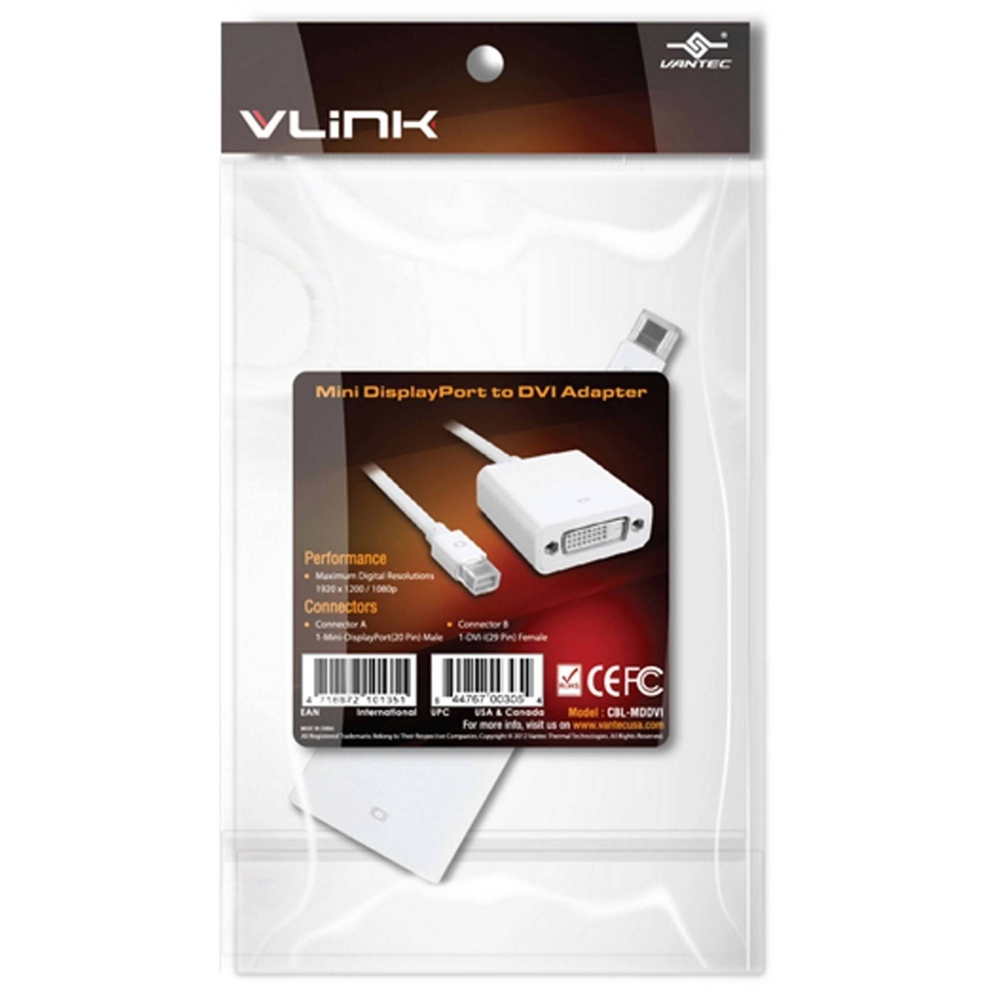 Vantec CBL-MDDVI miniDisplayPort to DVI Adapter, White