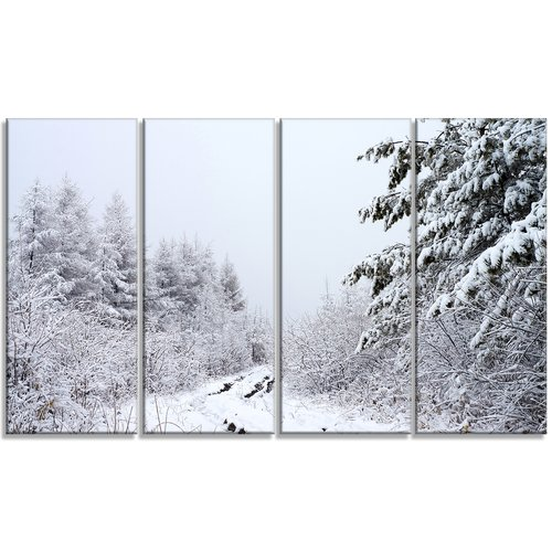 Design Art 'Frosted Forest Trail in Fall' 4 Piece Wall Art on Wrapped Canvas Set