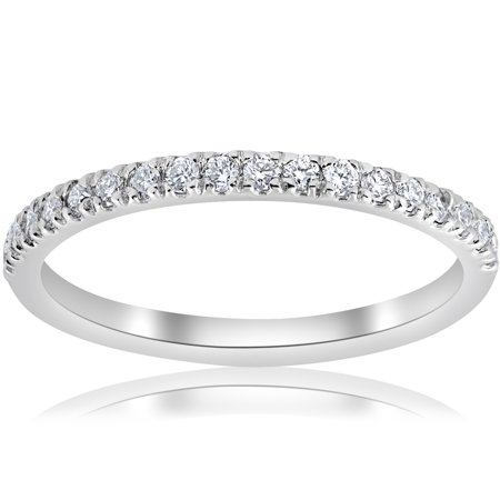 1/5ct Pave Diamond Wedding Ring Stackable Anniversary Band 14k White Gold Pave Diamond Anniversary Band