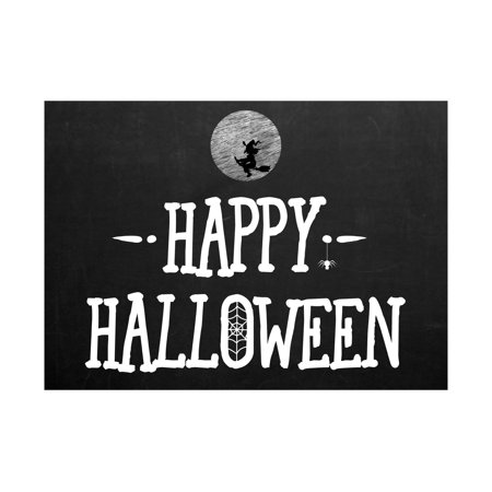 Happy Halloween Chalkboard Design Print Flying Witch Moon Spider Web Picture Seasonal Decoration Sign