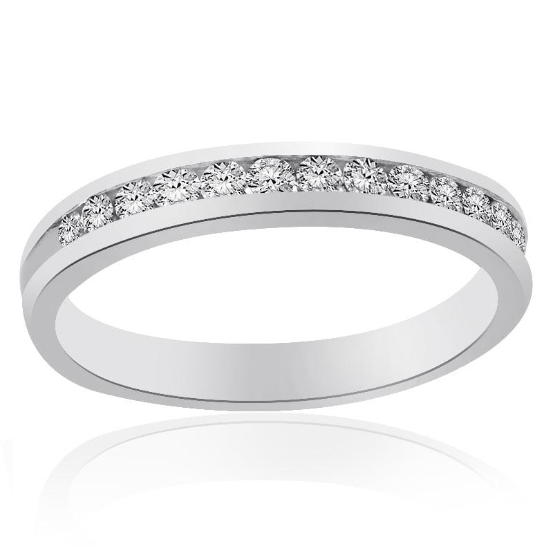 Platinum Channel Set Round Brilliant Cut Diamond Wedding Band 0.37 tcw by