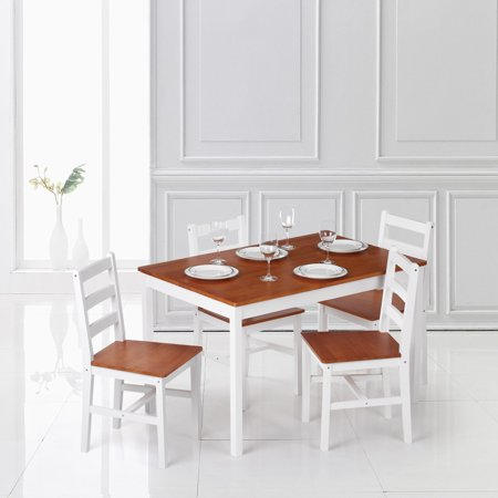 Ikayaa Modern 5pcs Pine Wood Dining Table Set Kitchen Dinette With 4 Chairs