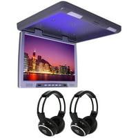 "TView T2207IR 22"" Slim Overhead Car/Truck/SUV Video Monitor +2 Wireless Headsets"