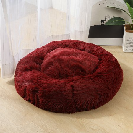 LNCDIS Dog Round Cat Winter Warm Sleeping Bag Long Plush Soft Pet Bed